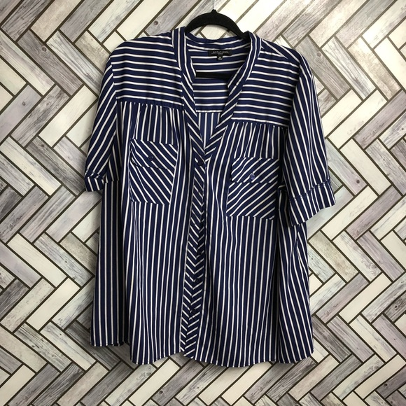 Notations Navy & White Button Front Silky Blouse